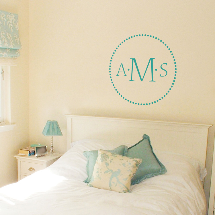 Elegant Dots - Three Letter Monogram - Wall Decals
