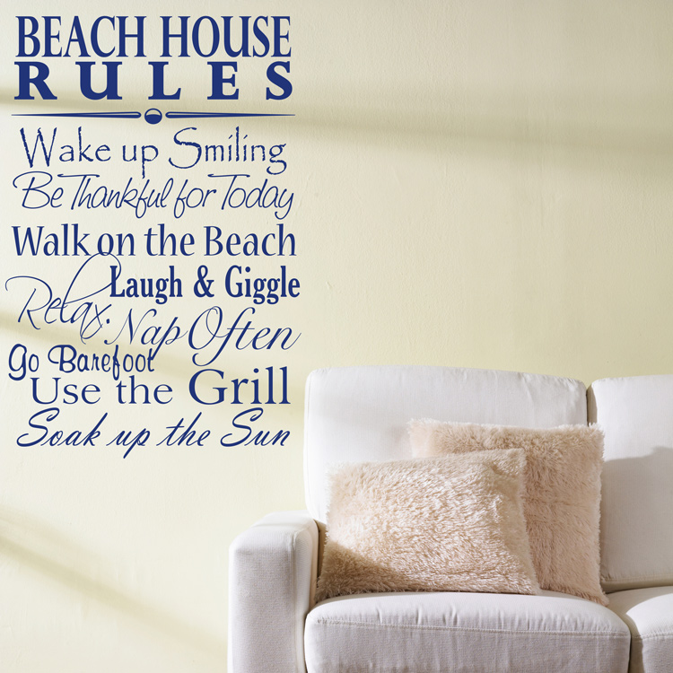 Beach House Rules Quote Saying Words Wall Decals