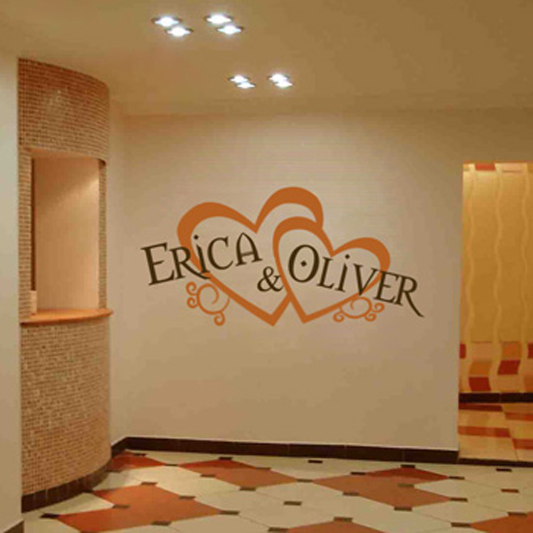 Personalized Wedding Monograms Hearts Amp Names Wall Decal