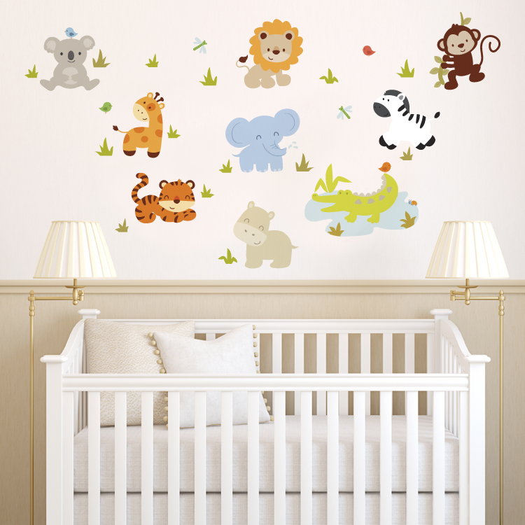 baby zoo animals printed wall decals stickers graphics nursery wall decals baby garden tree wall decal for boys and