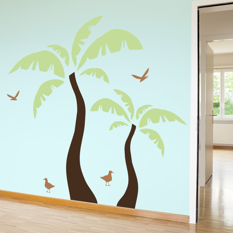 Beach Palm Tree With Seagulls Wall Decals Stickers Graphics