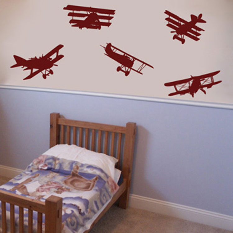 Air show set of 5 airplane wall decals for Airplane wall mural