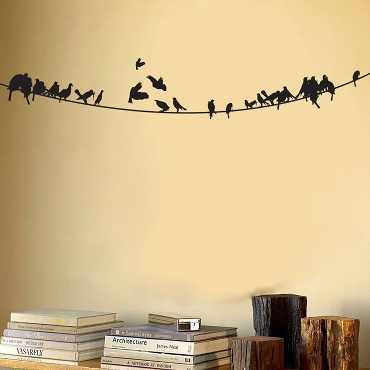 Birds sitting on a powerline vinyl wall decal - Stickers on the wall decoration ...
