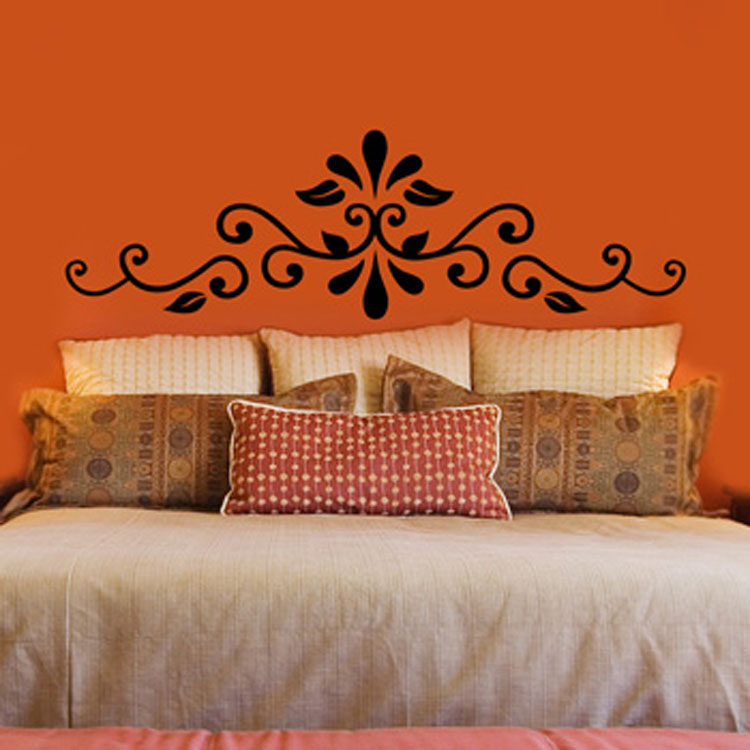 Swirling Henna Headboard Vinyl Wall Decal