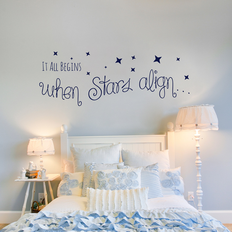 It All Begins When Stars Align Quote Love Wall Decals