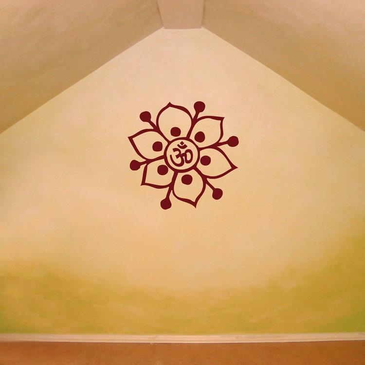 Om Symbol Flower Yoga Meditation Wall Decals Stickers