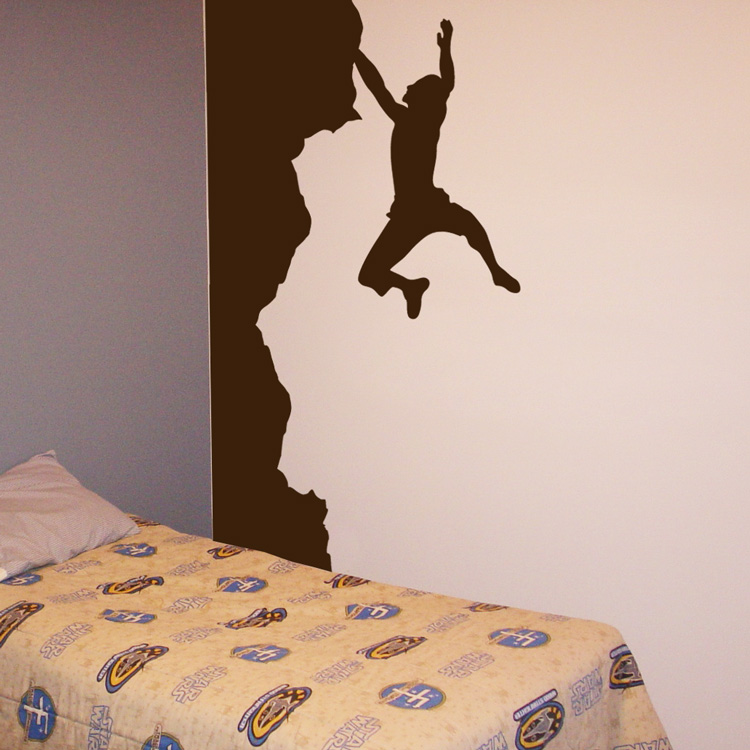 Rock climber made for the corner wall decal sticker graphic