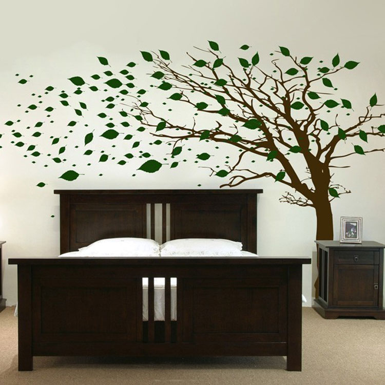 Tall Tree with Leaves Blowing in the Wind Wall Decal ...