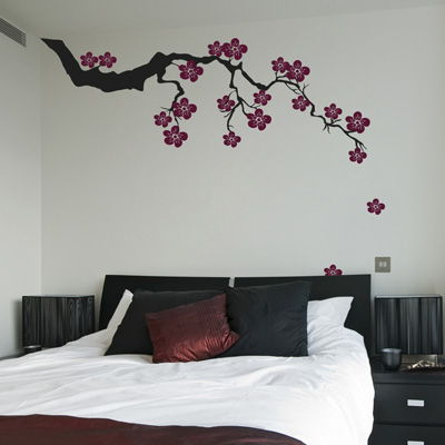Exotic Sakura Branch With Falling Blossoms Wall Decals