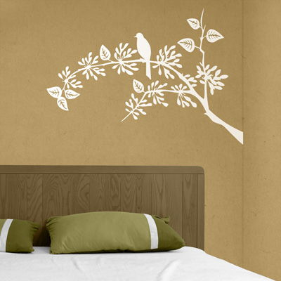 Little Bird Sitting Tree Branch Vinyl Wall Decals