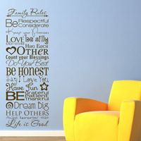 Family Rules - Quote - Sayings - Wall Decals