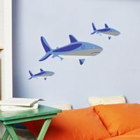 Swimming Sharks - Set of 3 - Printed Wall Decals