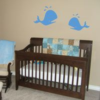 Cute Jumping Whales - Set of Two - Wall Decals